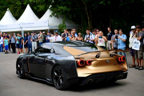 The Nissan GT-R50 by Italdesign makes its public debut at the Goodwood Festival of Speed.
