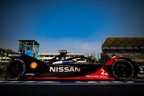 | Driver: Oliver Rowland| Team: Nissan e.dams| Number: 22| Car: IM02|| Photographer: Shivraj Gohil| Event: Mexico City E-Prix| Circuit: Autodromo Hermanos Rodriguez| Location: Mexico City| Series: FIA Formula E| Season: 2019-2020| Country: Mexico|| Session: Qualifying|