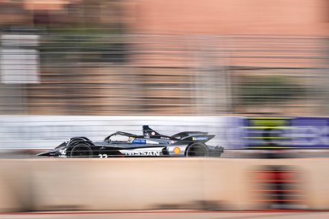 The Nissan e.dams Formula E team in action at the Marrakesh Rookie test with Jann Mardenborough and Mitsunori Takaboshi.