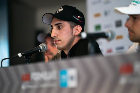 Nissan e.dams driver Sebastien Buemi at the Mexico City E-Prix Formula E press conference.