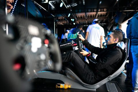 Nissan e.dams racers Sebastien Buemi and Oliver Rowland compete in the Hong Kong E-Race.