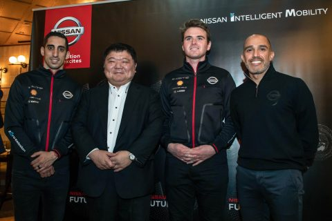 Nissan e.dams racers Oliver Rowland, Sebastien Buemi and Nissan global motorsport director Michael Carcamo meet the media t the Nissan Futures Hong Kong dinner.