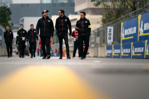 The Nissan e.dams team head out for the morning track walk at the Hong Kong E-Prix.