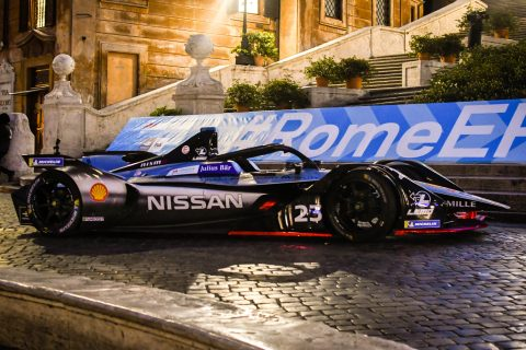 Nissan e.dams joins the rest of the Formula E field at Rome's famous Piazza di Spagna.