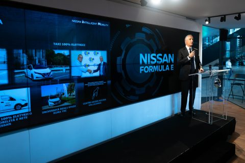 Images of the Nissan Formula E press conference at the Rome E-Prix.