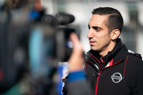 Nissan e.dams drivers Sebastien Buemi and Oliver Rowland join the team on the morning track walk.