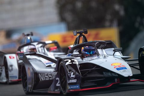 Nissan e.dams drivers Oliver Rowland and Sebastien Buemi in action in the Rome E-Prix shakedown.