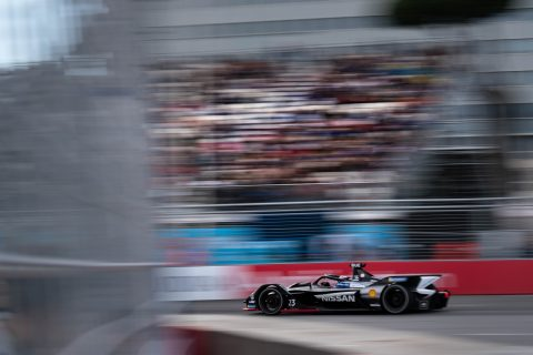 Nissan e.dams Formula E team in action in the Rome E-Prix - round seven of season five.