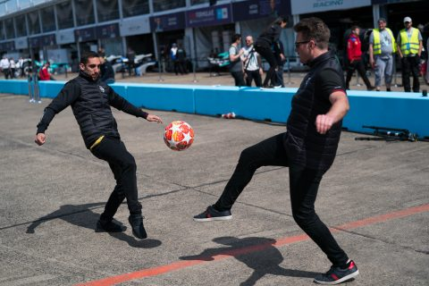Nissan e.dams drivers Sebastien Buemi and Oliver Rowland show off their football skills on the eve of the UEFA Champions League final.