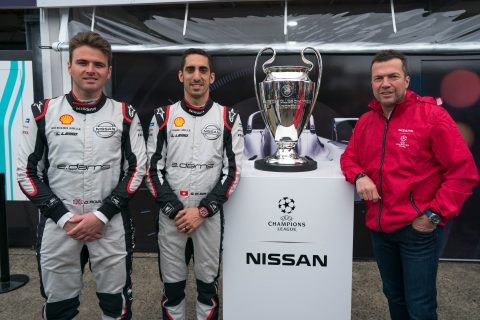 German football legend Lothar Matthäus visited the Nissan e.dams team with the UEFA Champions League trophy at the #BerlinEPrix.