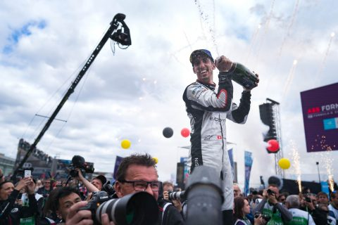 NIssan e.dams racer Sebastien Buemi celebrates his second place at the #BerlinEPrix.