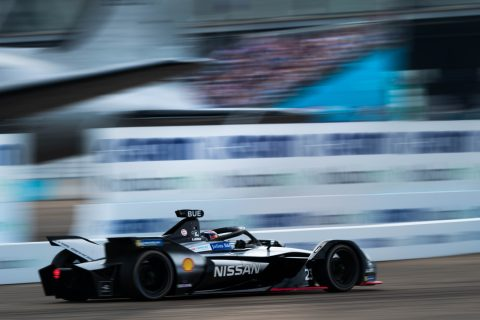 Nissan e.dams drivers Sebastien Buemi and Oliver Rowland on track in the #BerlinEPrix practice sessions.