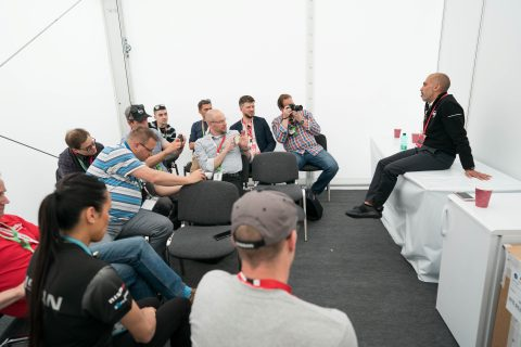 Nissan global motorsports boss Mike Carcamo meets the press at the Berlin E-Prix
