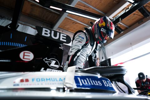 Nissan e.dams drivers Sebastien Buemi and Oliver Rowland on track in the #BerlinEPrix qualifying session.