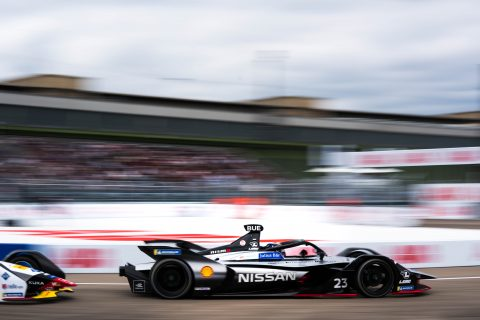 Nissan e.dams drivers Sebastien Buemi and Oliver Rowland on track in the #BerlinEPrix race.
