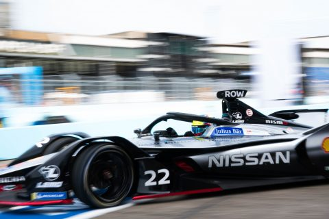 Nissan e.dams drivers Sebastien Buemi and Oliver Rowland on track in the #BerlinEPrix shakedown.