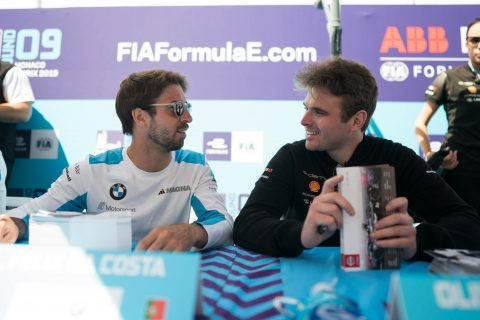 Autograph session: Nissan e.dams driver Sebastien Buemi and Oliver Rowland at the Monaco E-Prix autograph session.