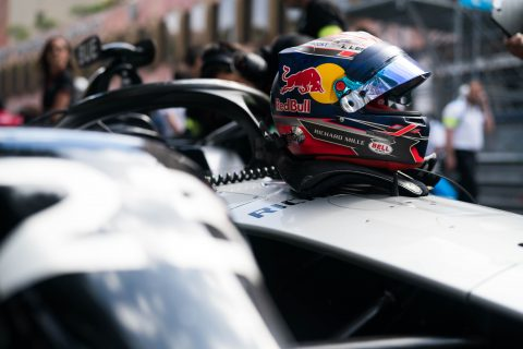 On the grid - the Nissan e.dams driver Sebastien Buemi and Oliver Rowland prepare to do battle at the world's most famous street circuit for the Monaco E-Prix.