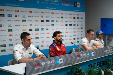 The Nissan e.dams driver Sebastien Buemi and Oliver Rowland face the media in preparation for the Monaco E-Prix.