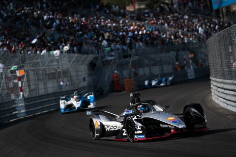 The Nissan e.dams team of Oliver Rowland and Sebastien BUemi in action at the Monaco E-Prix