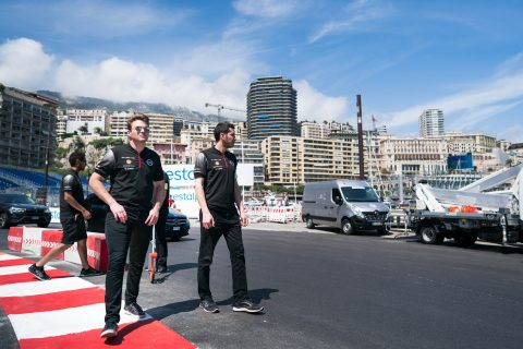 The Nissan e.dams driver Sebastien Buemi and Oliver Rowland join the team on the pre-race track walk for the Monaco E-Prix.