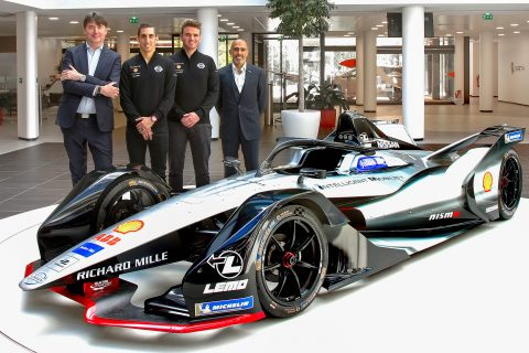 The Nissan e.dams drivers Sebastien Buemi and Oliver Rowland visited Nissan Europe HQ prior to the Paris E-Prix.