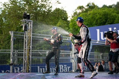 Nissan e.dams drivers Sebastien Buemi celebrates his third place finish on home soil at the Swiss E-Prix.