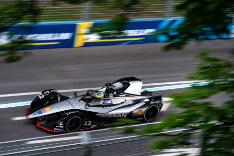 Nissan e.dams drivers Sebastien Buemi and Oliver Rowland in action in practice 1 at the #SwissEPrix in Bern.
