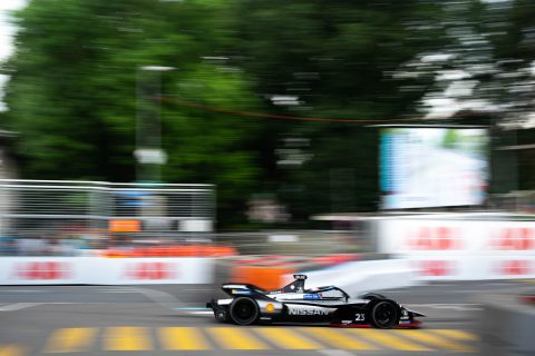 Nissan e.dams drivers Sebastien Buemi and Oliver Rowland in action in practice 2 at the #SwissEPrix in Bern.