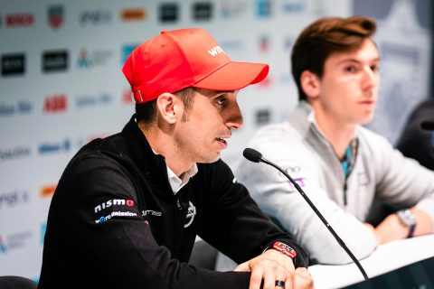 Nissan e.dams driver Sebastien Buemi talks to the press at the #SwissEPrix pre-event press conference in Bern.