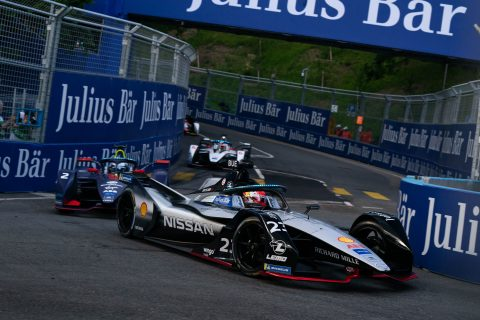 Nissan e.dams drivers Sebastien Buemi and Oliver Rowland in action in the #SwissEPrix in Bern.