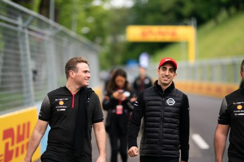 Nissan e.dams drivers Sebastien Buemi and Oliver Rowland check out the #SwissEPrix on this morning's track walk in Bern.