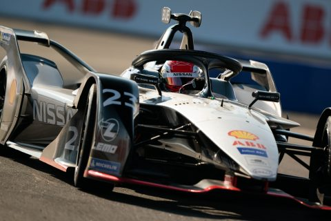 Nissan e.dams drivers Sebastien Buemi and Oliver Rowland in action in opening practice at the New York E-Prix.