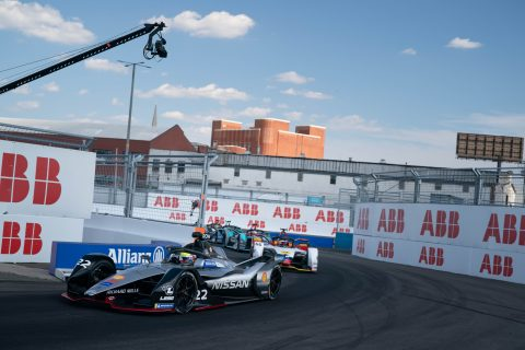 Nissan e.dams drivers Sebastien Buemi and Oliver Rowland in action in Sunday's New York E-Prix.