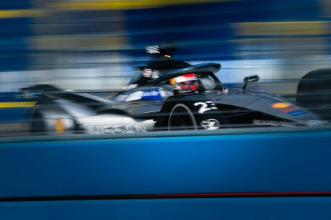 Nissan e.dams drivers Sebastien Buemi and Oliver Rowland on track in the final practice at the New York E-Prix.