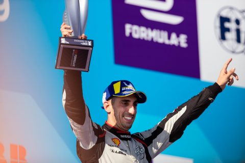 Nissan e.dams driver Sebastien Buemi celebrates his third place finish in the New York E-Prix and second place finish in the championship.
