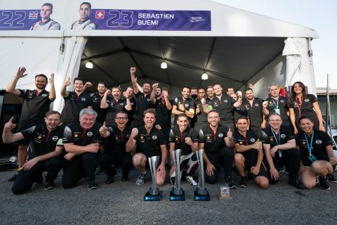 This Nissan e.dams team celebrate the end of its first season in the ABB FIA Formula E Championship.