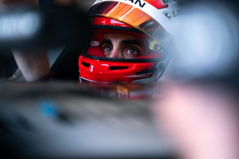 Nissan e.dams drivers Sebastien Buemi and Oliver Rowland in action in qualifying for Sunday's New York E-Prix.
