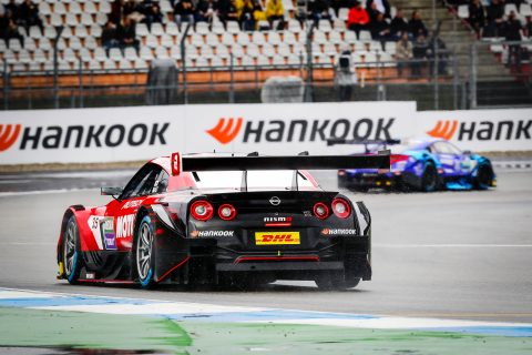 The Nissan GT-R NISMO GT500 in action in Germany in the first Super GT / DTM joint event