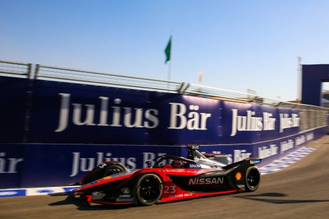 | Photographer: Shivraj Gohil| Event: Ad Diriyah E-Prix| Circuit: Ad Diriyah Circuit| Location: Riyadh| Series: FIA Formula E| Season: 2019-2020| Country: SA|| Session: FP2|| Driver: Sebastien Buemi| Team: Nissan e.dams| Number: 23| Car: IM02|