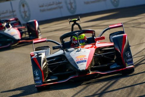 | Driver: Oliver Rowland| Team: Nissan e.dams| Number: 22| Car: IM02||Photographer: Lou Johnson| Event: Ad Diriyah E-Prix| Circuit: Ad Diriyah Circuit| Location: Riyadh| Series: FIA Formula E| Season: 2019-2020| Country: SA|| Session: FP2|