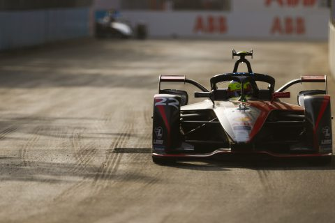 | Driver: Oliver Rowland| Team: Nissan e.dams| Number: 22| Car: IM02|| Photographer: Shivraj Gohil| Event: Ad Diriyah E-Prix| Circuit: Ad Diriyah Circuit| Location: Riyadh| Series: FIA Formula E| Season: 2019-2020| Country: SA|| Session: Race|