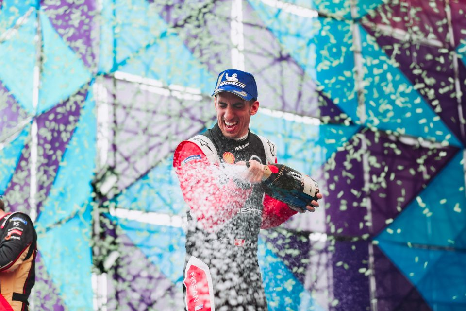 Nissan e.dams driver Sebastien Buemi scores a brilliant podium at the Mexico City Formula E race