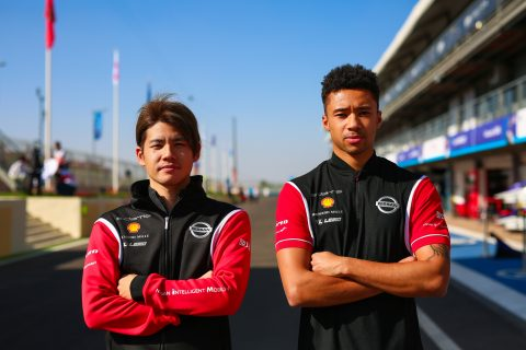 | Driver: Mitsunori Takaboshi| Team: Nissan e.dams| Car: IM02|| Driver: Jann Mardenborough| Team: Nissan e.dams| Car: IM02| | Photographer: Shivraj Gohil| Event: Marrakesh E-Prix| Circuit: Circuit International Automobile Mouley el Hassan| Location: Marrakesh| Series: FIA Formula E| Season: 2019-2020| Country: Morocco|| Session: Race|