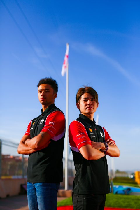 | Driver: Mitsunori Takaboshi| Team: Nissan e.dams| Car: IM02|| Driver: Jann Mardenborough| Team: Nissan e.dams| Car: IM02| | Photographer: Shivraj Gohil| Event: Marrakesh E-Prix| Circuit: Circuit International Automobile Mouley el Hassan| Location: Marrakesh| Series: FIA Formula E| Season: 2019-2020| Country: Morocco|| Session: Test|