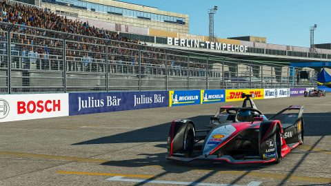 | Driver: Sebastien Buemi| Team: Nissan e.dams| Number: 23| Car: IM02| | Photographer: Lou Johnson| Event: Race at Home Challenge Round 5: Berlin | Circuit: Tempelhof airport| Location: Berlin| Series: ABB Formula E| Season: 2020| Country: Germany|