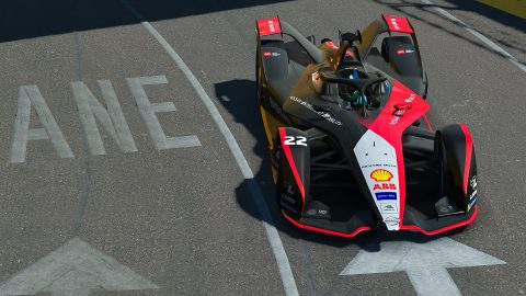 | Driver: Oliver Rowland| Team: Nissan e.dams| Number: 22| Car: IM02|| Photographer: Lou Johnson| Event: Race at Home Challenge Round 6: New York City | Circuit: Brooklyn Street Circuit| Location: Brooklyn, NY| Series: ABB Formula E| Season: 2020| Country: United States|