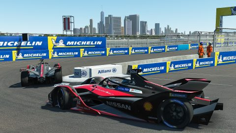 | Driver: Oliver Rowland| Team: Nissan e.dams| Number: 22| Car: IM02|| Driver: Sebastien Buemi| Team: Nissan e.dams| Number: 23| Car: IM02| | Photographer: Lou Johnson| Event: Race at Home Challenge Round 6: New York City | Circuit: Brooklyn Street Circuit| Location: Brooklyn, NY| Series: ABB Formula E| Season: 2020| Country: United States|