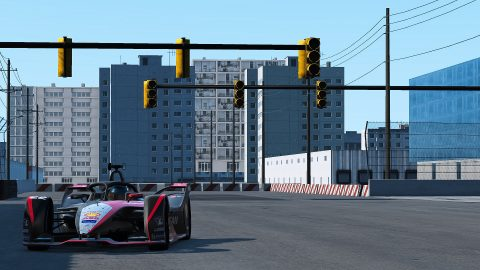 | Driver: Oliver Rowland| Team: Nissan e.dams| Number: 22| Car: IM02|| Photographer: Lou Johnson| Event: Race at Home Challenge Round 2: Electric Docks | Circuit: Electric Docks| Location: New York| Series: ABB Formula E| Season: 2020| Country: USA|