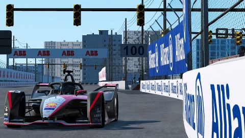 | Driver: Sebastien Buemi| Team: Nissan e.dams| Number: 23| Car: IM02| | Photographer: Lou Johnson| Event: Race at Home Challenge Round 2: Electric Docks | Circuit: Electric Docks| Location: New York| Series: ABB Formula E| Season: 2020| Country: USA|